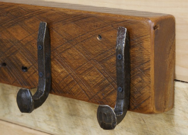 Reclaimed Wood Coat Racks with Railroad Spike Hooks - Rustic - Wall Hooks - other metro - by ...
