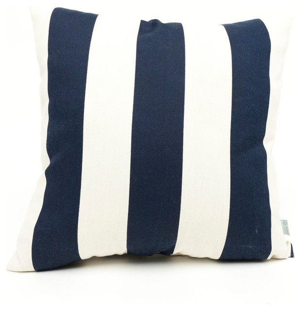 Outdoor Navy Blue Vertical Stripe Large Pillow beach-style-outdoor-cushions-and-pillows