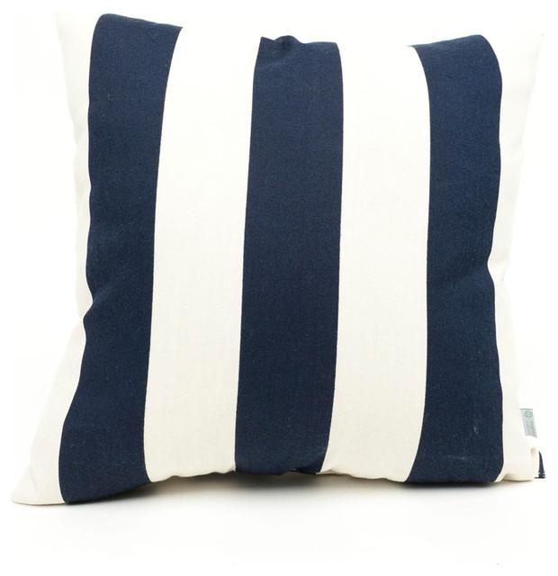 Outdoor Navy Blue Vertical Stripe Large Pillow beach-style-outdoor-pillows