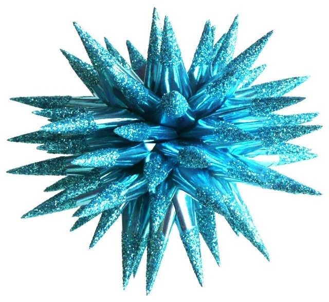 Vivid Turquoise Sparkler Star Urchin Christmas by Kissa Design eclectic holiday decorations