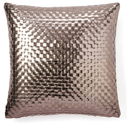 Metallic Basket-Weave Pillow, Rose Gold - Contemporary - Decorative Pillows - by SIVAANA