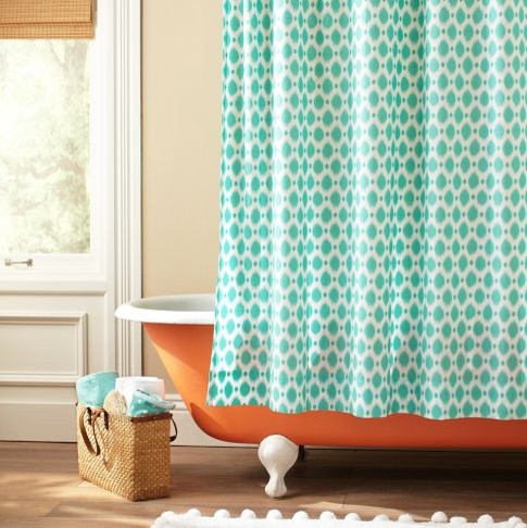 Ikat Dot Organic Shower Curtain eclectic-shower-curtains