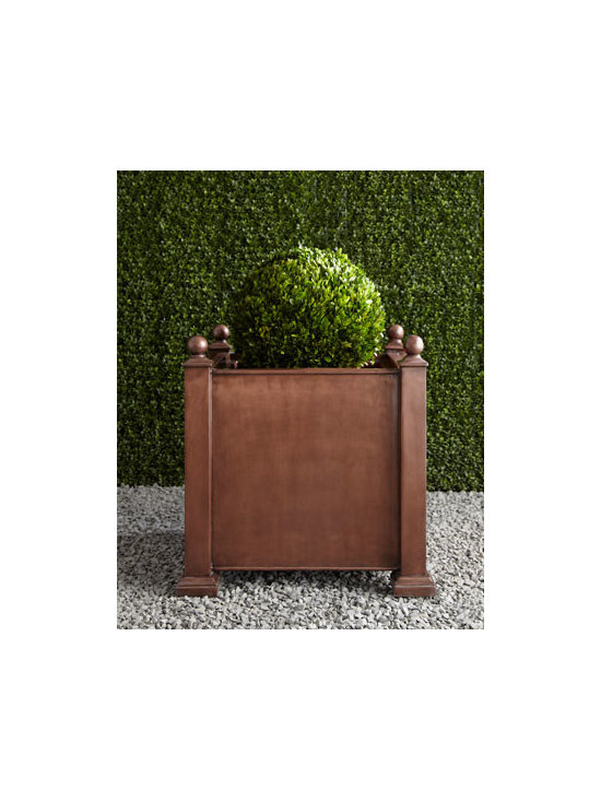 "Horchow - Antique Square Planter - Plain, unadorned except for ball finials, and deceptively simple, this square planter makes the ideal container for florals and greenery of all sorts. Handcrafted of polyresin. Hand-painted antique-copper finish. For decorative use only. 26""Sq. x 26""T. Imported. Boxed weight, approximately 57."