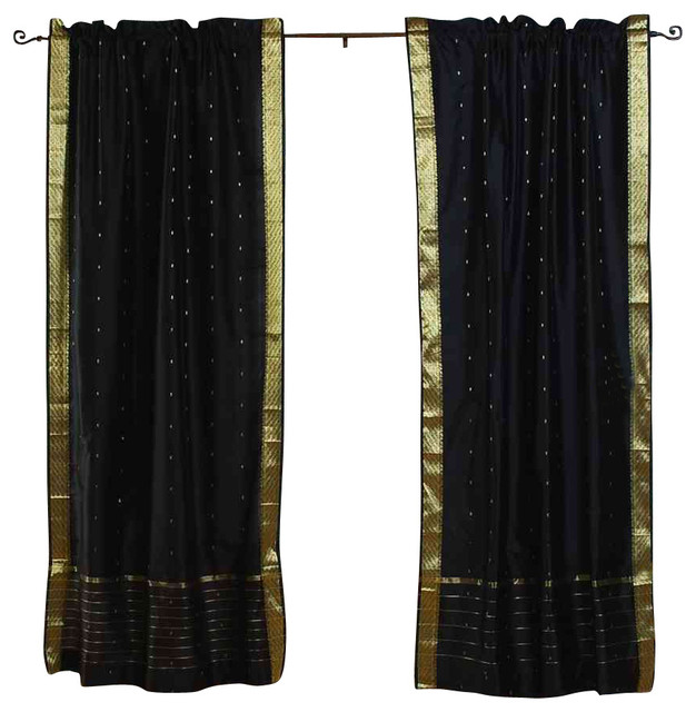Pair Of Black Rod Pocket Sheer Sari Curtains, 60 X 63 In