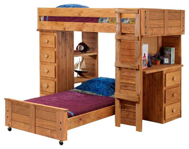 Chelsea Home Twin Over Twin Student Loft Bed traditional-kids-beds