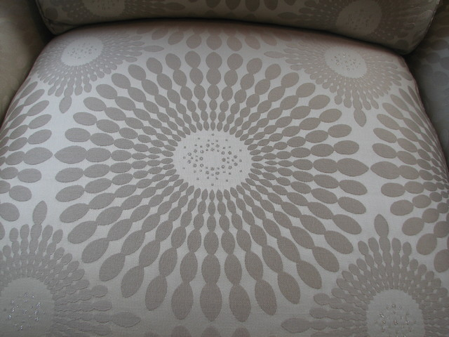 Close up of star burst fabric with crystal embellishments contemporary-armchairs-and-accent-chairs