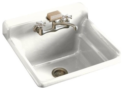 Kohler K 6608 2 0 Bayview Self Rimming Utility Laundry Sink With Two Hole Faucet Traditional