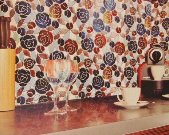 Glass - Tiffany Glass - Rose Pattern.