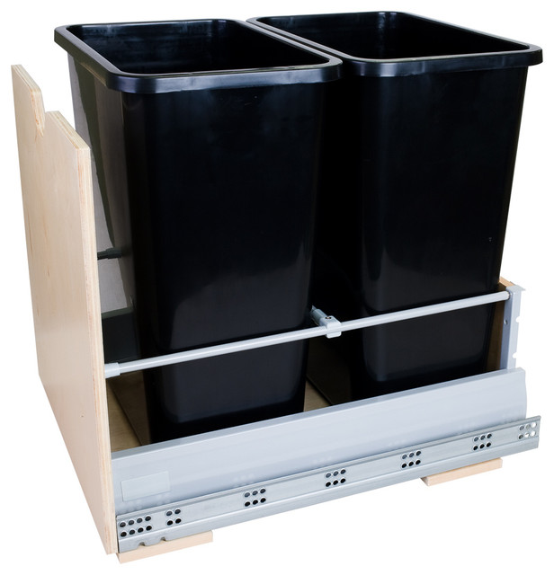 Preassembled 35-Quart Double Pullout Waste Container System traditional-cabinet-and-drawer-organizers