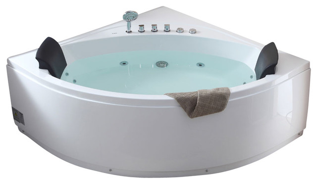 5 39 Rounded Modern Double Seat Corner Whirlpool Bath Tub With Fixtures M