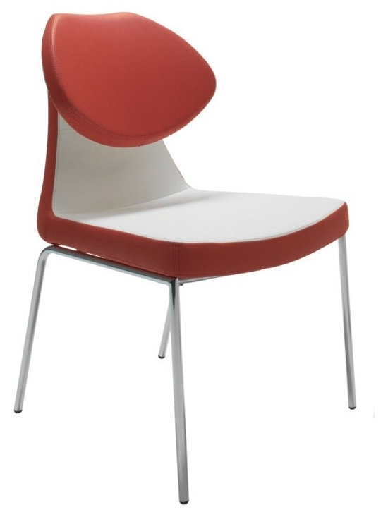 """Gakko Dining Chair by sohoConcept - Gakko is a distinctive dining chair with a comfortable upholstered seat and backrest on chromed steel tube legs which are plastic tipped. The folded backrest gives chair extra comfort and futuristic look. The seat has a steel structure with """"S"""" shape springs for extra flexibility and strength. This steel frame molded by injecting polyurethane foam. Gakko seat is upholstered with a removable zipper and velcro enclosed leather, PPM or wool fabric slip cover. The chair is suitable for both residential and commercial use"""