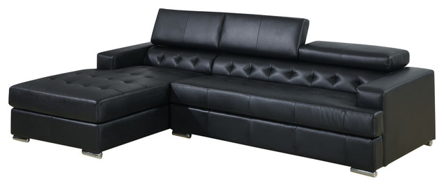modern leather sectional sofa with adjustable headrest and oversized chaise bla modern. Black Bedroom Furniture Sets. Home Design Ideas