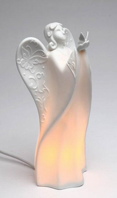 Festive Quot Angel Holding Butterfly Quot White Porcelain Plug In