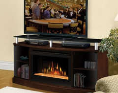 Dimplex Windham Mocha Electric Fireplace Media Console contemporary media storage