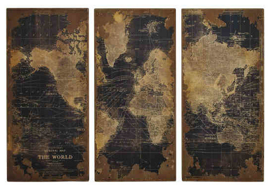 high design vintage world map in wood set of 3 eclectic With kitchen cabinets lowes with antique world map wall art
