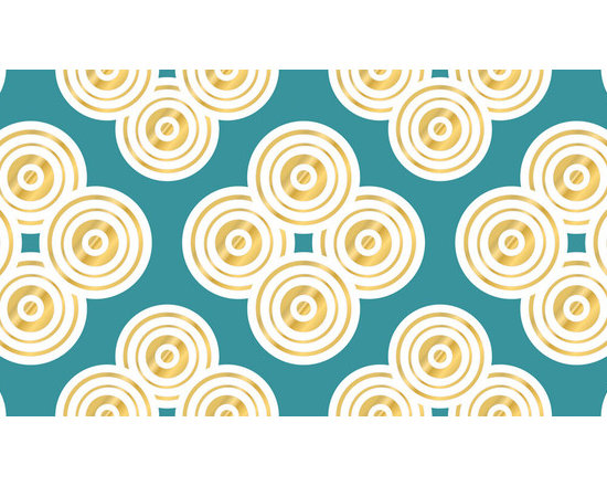 """WallPops - Jonathan Adler Elephant Paisley Stripe Wall Decals - A glistening gold design beyond a beautiful turquoise backdrop, Elephant Paisley WallPops by Jonathan Adler are fun and pleasing. These designer wall decals bring a bold and elegant pattern to walls, adding elegance and splendor. Stripes are 6.5"""" wide x 12' long and come one to a pack. WallPops are always repositionable and removable."""