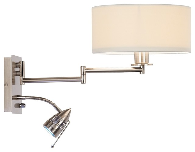 Led Wall Sconce Plug In : Possini Euro Plug-In LED Reading Swing Arm Wall Light - Contemporary - Swing Arm Wall Lamps - by ...