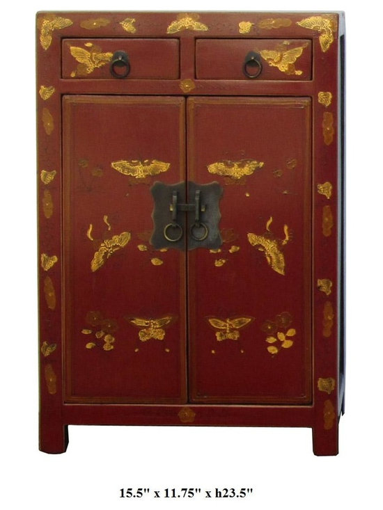 Chinese Red Color Butterflies Graphic Night Stand / End Table - This elegant night stand is made of solid elm wood and hand painted with butterflies graphic on the front side.