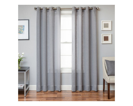 Grandin Road - Paloma Solid Sheer Drapery Panel - Sheer curtain panel with an open-weave texture. Each panel is sold separately. 80% polyester for durability, 20% linen for a pleasing touch. Each panel hangs from eight metallic-finish grommets. See our selection of curtain rods (sold separately). Add elegance to every room, instantly, when you hang the open-weave, grommet-top Paloma Solid Sheer Panel to your window. Each of the texture-rich panels blends beautifully with a variety of styles. Select a neutral hue to fit your color scheme and enjoy its light-diffusing qualities alone or layer it behind a decorative panel, for a professional look.  .  .  .  .  . Dry clean only . Imported.