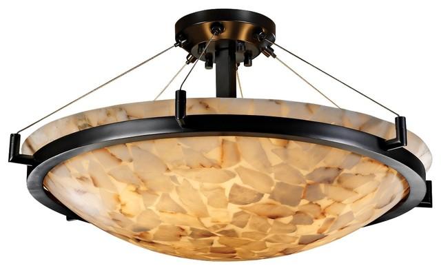 "Contemporary Alabaster Rocks Matte Black Semiflush 27"" Wide Ceiling Light contemporary-ceiling-lighting"