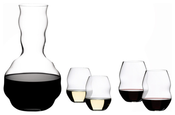 Riedel swirl red wine glasses and decanter set of 5 traditional decanters by chef 39 s arsenal - Riedel swirl white wine glasses ...