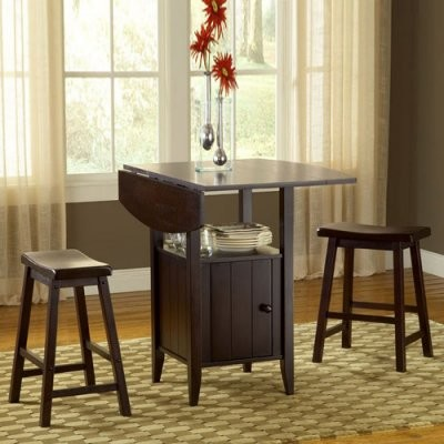 London 3 Pc Drop Leaf Dining Set With Storage Modern Dining Tables