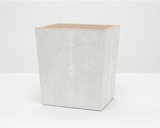 "Manchester Wastebasket, Retangular-Ivory - Up your elegance and add an edge to your aesthetic with our striking faux shagreen Manchester collection. Each piece is crafted to highlight the natural ""eye"" pattern inspired by real shagreen, and topped with a wood veneer trim. Available in five colors, every set is hand-finished to bring out the highs and lows of each hue. Turn the page to see the Manchester in every color!"