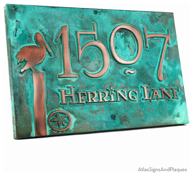 Perched Pelican Address Plaque 16 Quot X 10 5 Quot In Copper Verdi