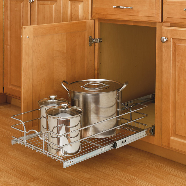 medium cabinet mount chrome wire basket rack traditional
