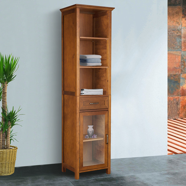 oak finish linen tower storage cabinet contemporary medicine cabinets