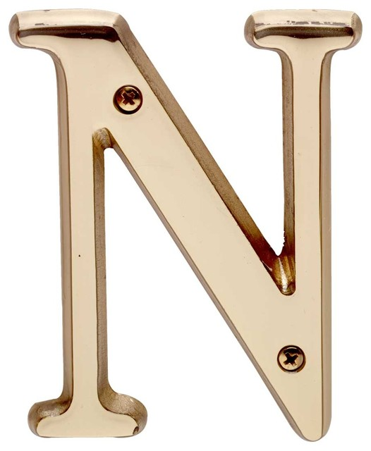 """House Numbers Bright Solid Brass 4"""" House LetterN traditional-house-numbers"""
