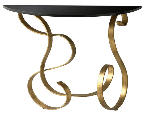 "Cyan Design Ribbon Console Table in Black & Gold Finish - The Cyan Design Ribbon Console Table, with a Black and Gold finish, will add a Transitional style to any home's decor! Composed of Iron and Granite material. Dimensions: 27 1/2"" High, 14"" Wide, 35 3/4"" Long."