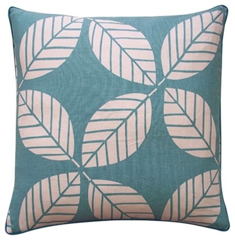 "Tiki Leaves 20"" x 20"" Pillow in Teal modern-decorative-pillows"