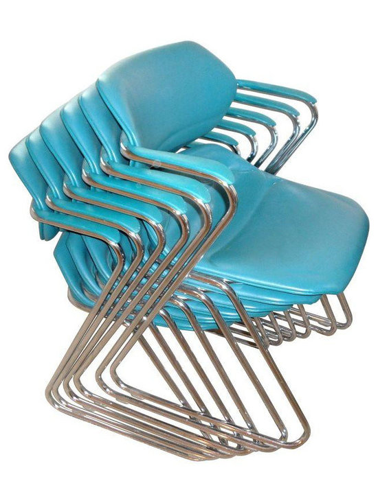 1970's Teal Chrome Cantilever Chairs - Set of 8 -