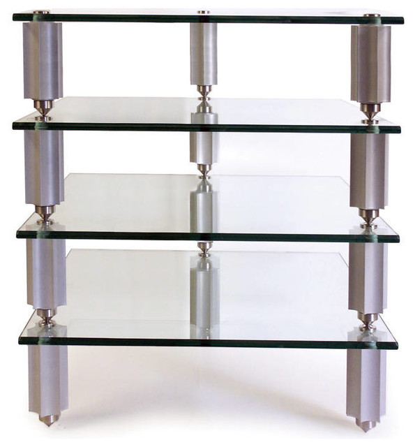 "Legacy HiFi Audio Rack 4-7"" Silver Star Posts with 4 Clear Glass Shelves - Modern - Display And ..."