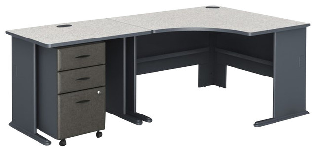 Bush Series A 3-Piece Corner Computer Desk in Slate transitional-desks