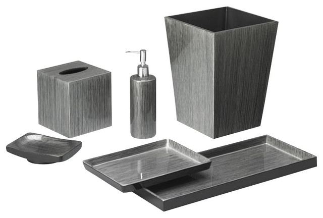 Brushstroke silver black bath set transitional for Silver bathroom set
