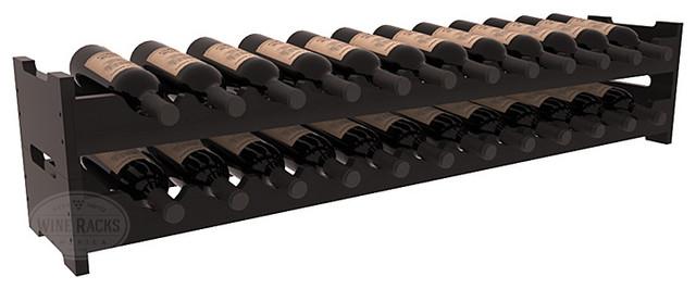 24 Bottle Scalloped Wine Rack in Redwood, Black Stain + Satin Finish contemporary-wine-racks