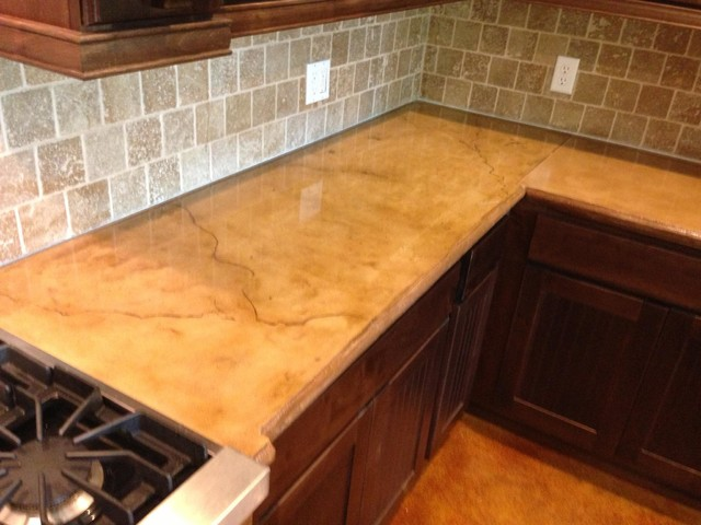 Colored And Stained Concrete Countertop Rustic Houston