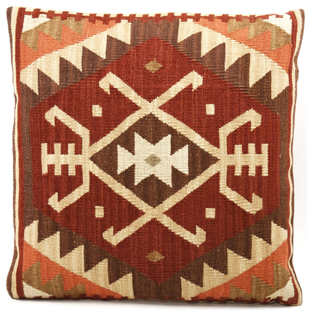 Beren 22 Inch Rust, Orange & Beige Kilim Wool Pillow transitional-pillows