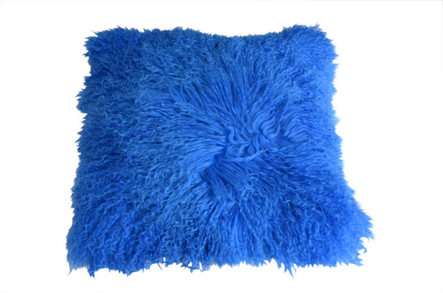 Mongolian Lamb Fur Pillow - Royal Blue - Contemporary - Decorative Pillows - by Curly Fur Imports