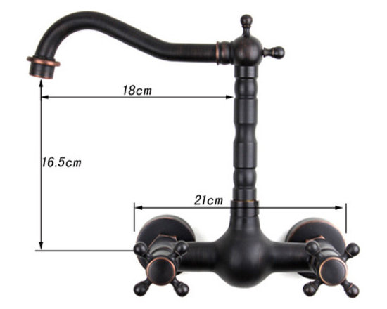 Double Handle Wall Mounted Bridge Kitchen Faucet In Oil Rubbed Bronze -