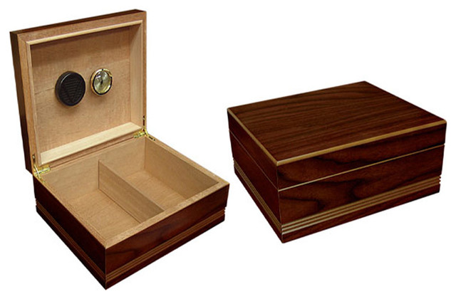 Rich Almond Finish Cigar Humidor - Traditional - Wine And Bar Tools
