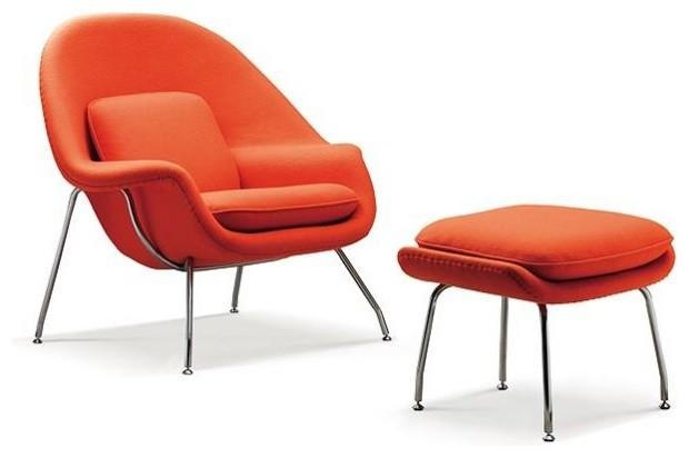 Eero Saarinen Womb Chair And Ottoman In Burnt Orange By
