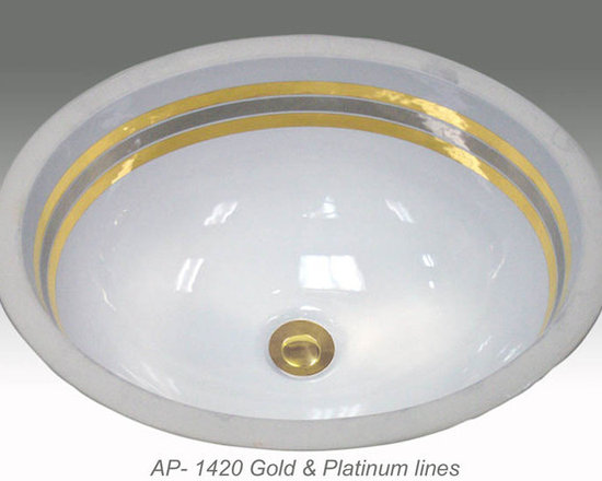 "Hand Painted Undermounts by Atlantis Porcelain - ""GOLD & PLATINUM LINES"" Shown on AP-1420 white Monaco Medium undermount 17-1/4""x14-1/4"". Available on bright gold or platinum and burnished gold or platinum on any of our sinks."