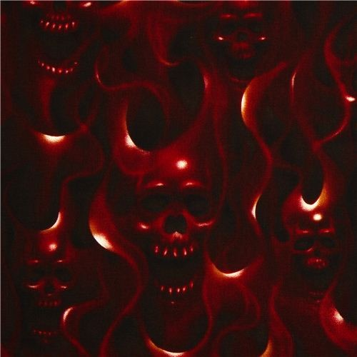 red Alexander Henry fabric with skulls on fire - Fabric ...