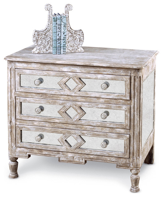 Calais French Country Diamond Antique Mirror Bedside Chest - Small transitional-nightstands-and-bedside-tables