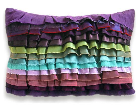 Purple Aqua Duck Egg Blue Chartreuse Mauve Lavender Bohemian Ruffle Pillow Case -