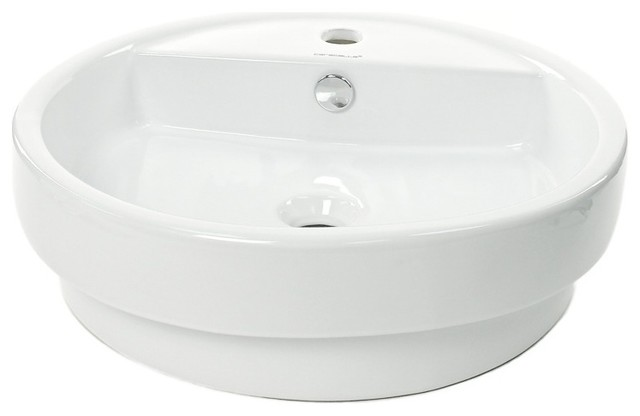 Circular White Ceramic Self Rimming Bathroom Sink contemporary-bathroom-sinks