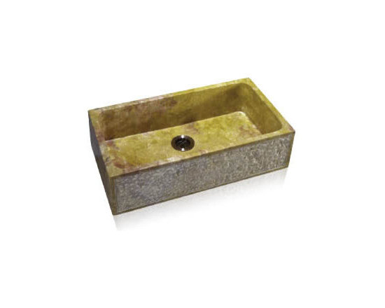 Bathroom sinks - Overall Dimensions: 33 x 18 Bowl Dimensions: 29 x 16 x 9 The Stone Bath Vessel group offers classical form in sumptuous stone. There are few more beautiful elements than the natural stone that is crafted and polished to perfection. This process begins with a solid block of %100 natural stone that is then given its rough shape.
